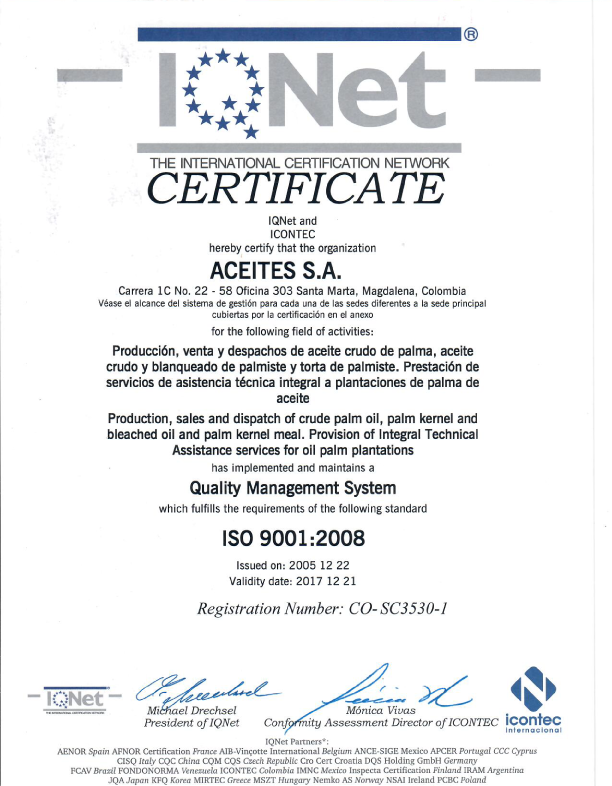 Certificado ISO 9001:2008 IQNET